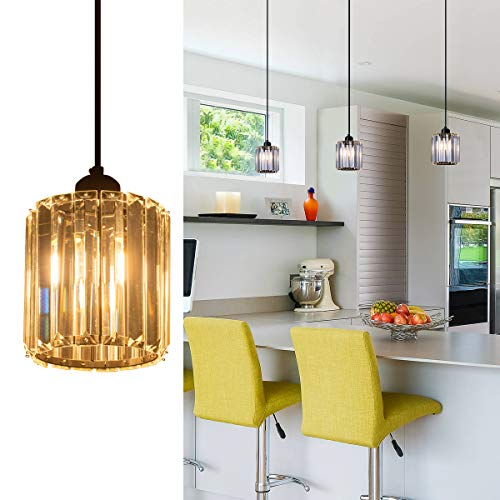 ShengQing Black Mini Pendant Light with Clear Crystal Shape Modern Industrial Kitchen Pendant Lighting Fixture for Kitchen Island Counter Dining Room Bedroom ()