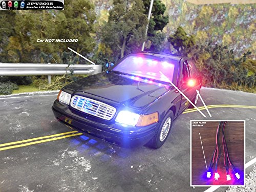 Genuine JPV2015 Product - 4 LED Police RC Light KIT for RC Cars, Trucks, Crawlers, Models, Diecast, and More! - Premium Quality - Handmade in USA Exclusively by JPV2015 ()