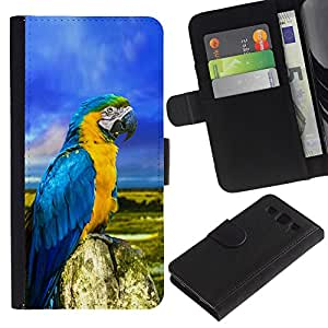 iKiki Tech / Cartera Funda Carcasa - Parrot Colorful Blue Feathers Summer - Samsung Galaxy S3 III I9300