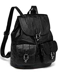 VASCHY Backpack Purse for Women, Fashion Faux Leather Buckle Flap Drawstring Backpack for College with Two Front Pockets