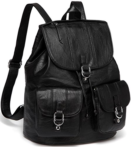 (Backpack Purse for Women,VASCHY Fashion Faux Leather Buckle Flap Drawstring Backpack for College with Two Front Pockets Black)