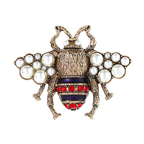 MOREFUN Women's Collar Brooch Pin Collection Custom Accessories Wedding Brooches Pendant Pin Crystal Jewelry Gifts (Bee)