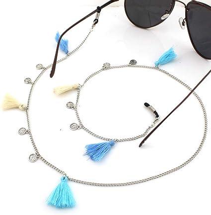 Snsunny Brillenkette Sonnenbrille Lesebrille Brillenb/änder Halter Kette Cord mit Quaste One Size, Blau