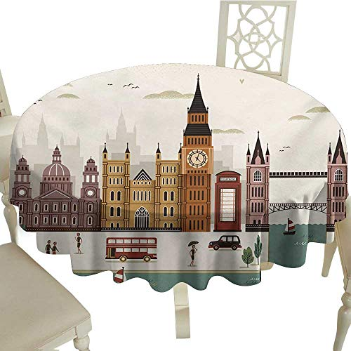Cranekey Fabric Tablecloth 65 Inch London,Attractive Travel Scenery Famous City England Big Ben Telephone Booth Westminster,Multicolor Great for,Coffee & More