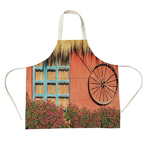 - 3D Printed Cotton Linen Big Pocket Apron,Barn Wood Wagon Wheel,Country House in Ecuador Red Wall Window Summer Flowers Straw Roof Decorative,Multicolor,for Cooking Baking Gardening