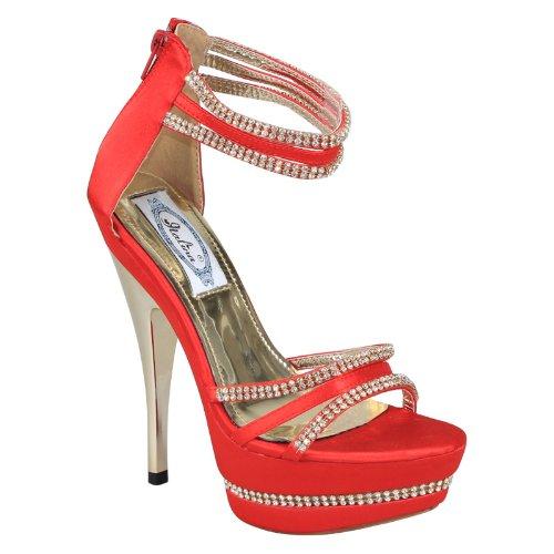New Brieten Womens Rhinestone Ankle Strap Platform High Heel Sandals TSS2ZPWCHX