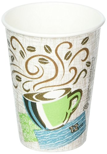 Perfectouch Hot Cups, Paper, 12oz, Coffee Dreams Design, 50/Pack