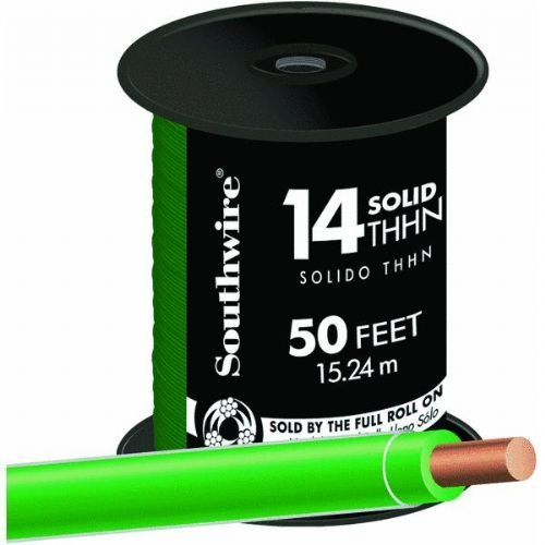 SOUTHWIRE COMPANY LL 11583241 14 Gauge Solid Green Thhn Wire, 50' (Green Wire Thhn)