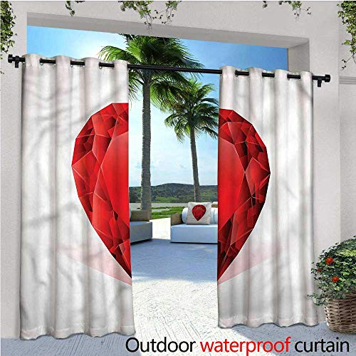 warmfamily Diamonds Outdoor Blackout Curtains Pear Shaped Rhinestone Outdoor Privacy Porch Curtains W108 x L108