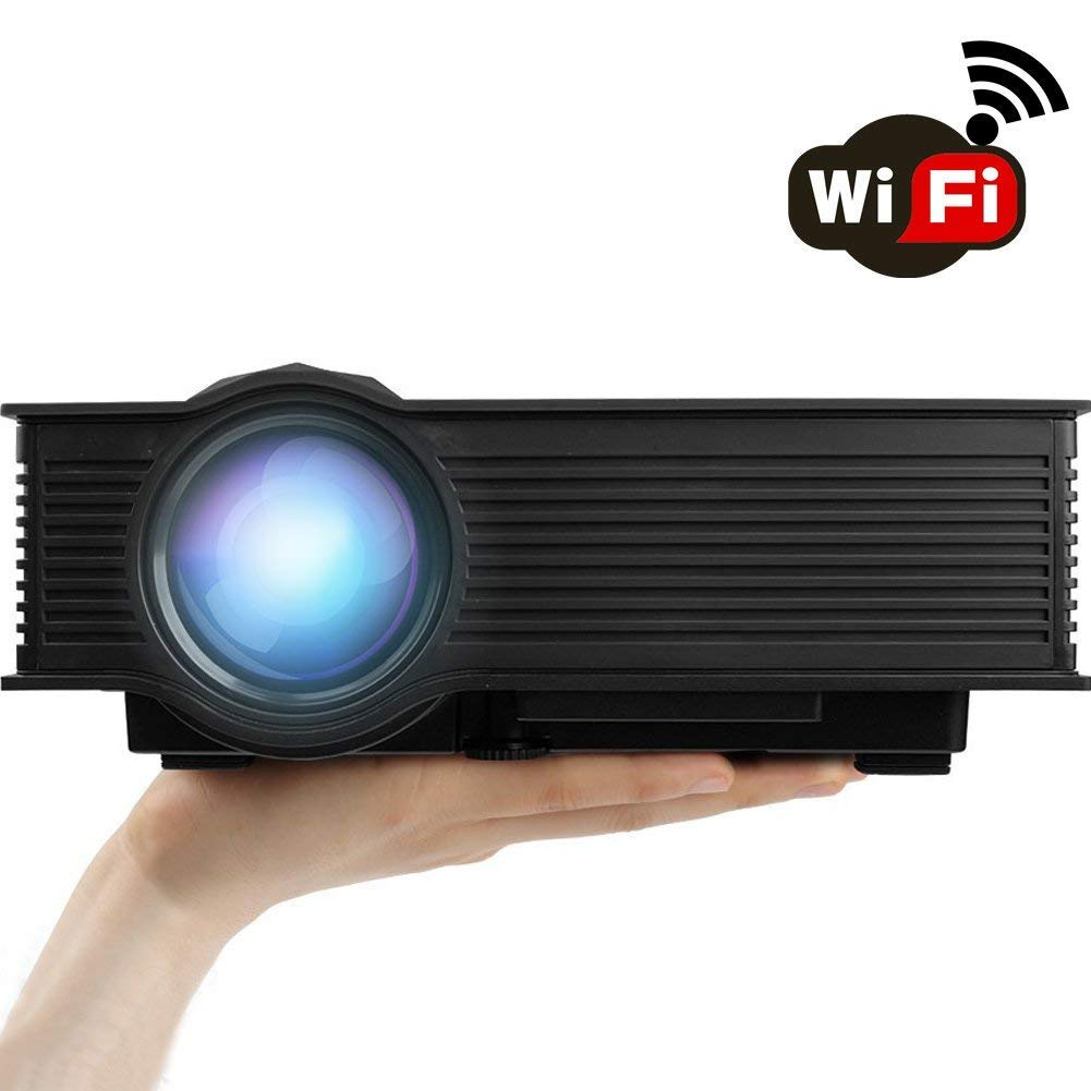 2019 Updated WiFi Wireless Projector, Support HD 1080P, ERISAN LCD LED Mini Smart Video Beam, Proyector for Home Theater Cinema Video Game (Black)