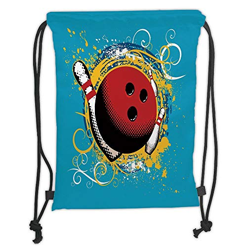 New Fashion Gym Drawstring Backpacks Bags,Bowling Party Decorations,Fun Hobby Retro Ball Floral Swirls Color Splashes Pop Art,Blue Red Yellow Soft Satin,Adjustable String ()