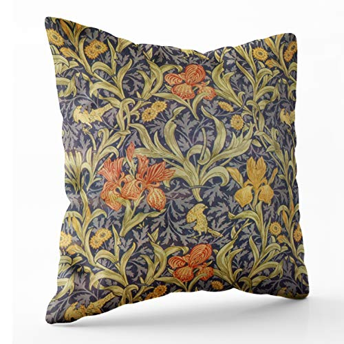 Shorping Zippered Pillow Covers Pillowcases 16X16 Inch iris by william morris Decorative Throw Pillow Cover ,Pillow Cases Cushion Cover for Home Sofa Bedding