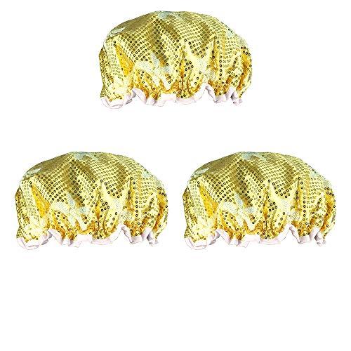 Sequined Shower Cap, Golden Yellow, 5-Petal Flower Pattern, Keeps Hair Dry L8360 - Lot of 3.