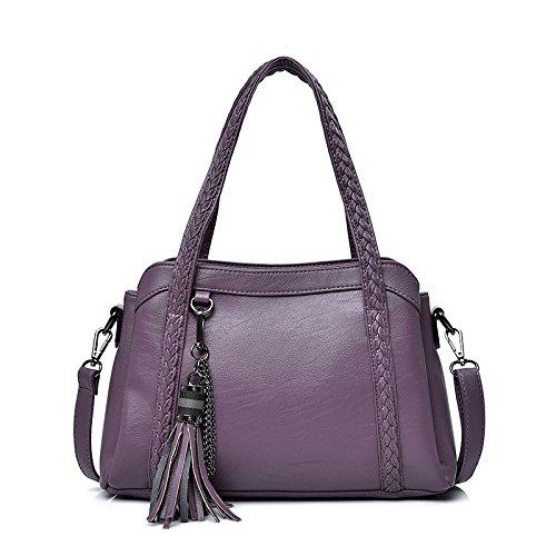 DHFUD Bolso De Hombro Del Bolso De Las Mujeres Bolso De Mensajero Del Color Sólido De La Moda PU Purple