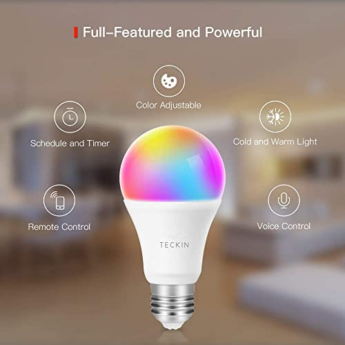 Smart Light Bulb with Soft White Light 2800k-6200k RGBW, TECKIN E26 A19 WiFi Multicolor LED Bulb Compatible with Phone, Google Home, 7.5w 60w Equivalent ,4 Pack