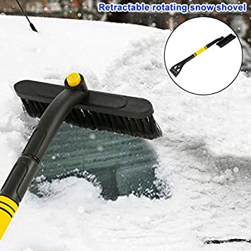 AMILIEe Car Snow Brush Foam and Soft Bristle Head 25.1 Inch - 31.4 Inch 360 Degree Rotate Deluxe Ice Scraper Extendable Auto Snow Removal Broom for Car Auto SUV Truck