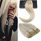 remy platinum - Sunny 18inch Clip in Remy Hair Extensions Platinum Blonde #60 Full Head Clip On Hair Extensions Human Hair 7pcs/120g Per Package