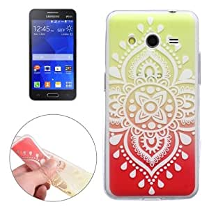 White Carving Pattern Ultra-thin Transparent TPU Protective Case for Samsung Galaxy Core 2 / G355