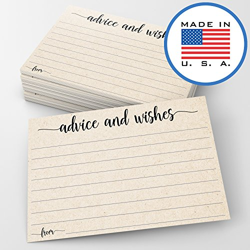 321Done Advice and Wishes Cards (Pack of 50) Blank Well Wishes for Wedding, Bridal, Mr and Mrs, Retirement, Baby Shower - Words of Wisdom - Made in USA, Tan Kraft Look