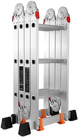 Escalera Plegable, Escalera De Uso Múltiple Aluminio Retráctil Paso De Seguridad Bisagra De Bloqueo 330 LB Capacidad En 131 Estándar (Tamaño : 3.4M): Amazon.es: Hogar