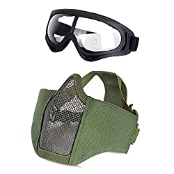 Unigear Airsoft Half Face Masks Steel Mesh Mask with Goggles Set For Hunting, Paintball, Shooting