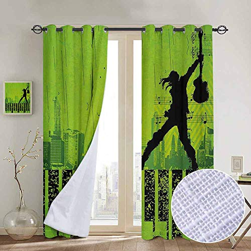 NUOMANAN backout Curtains for Bedroom Popstar Party,Music in The City Theme Singer with Electric Guitar on Grunge Backdrop,Lime Green Black,Pocket Thermal Insulated Tie Up Curtain 84