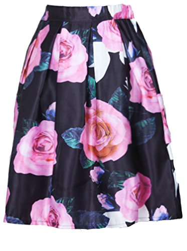 Helan jupe haute floral Noir Grand de ebouriffer Rose femmes Taille cru EqY6rE0O