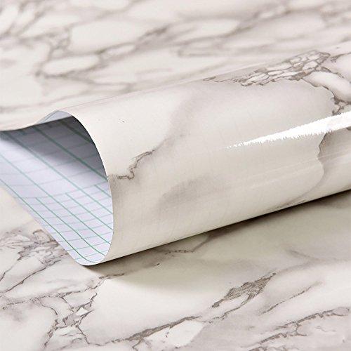 JIWINNER White Black Veined Marble Gloss Vinyl Architectural Wrap for Home Office Furniture Wallpaper Tile Sheet 9.8ft x 15.7'' Roll by JIWINNER