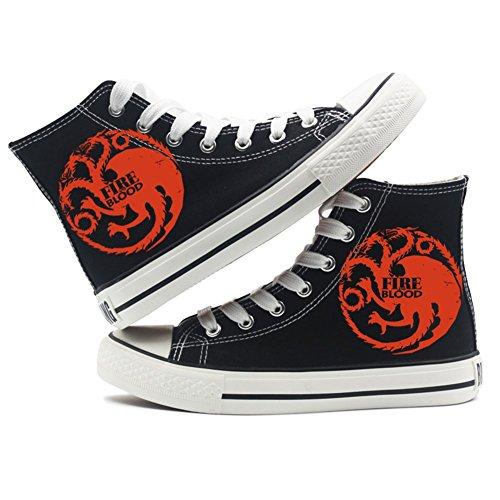 Schwarz Schuhe Feuer Sneakers Thrones A of Game Schuhe und Weiß von Eis 3 Lied Leinwand Schwarz vf6Wx