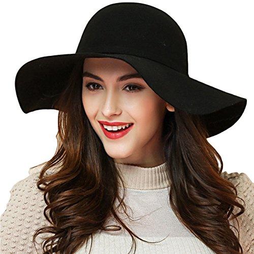 Promini Women's Fedora Hat Wide Brim Warm Wool Floppy Hat Vintage Bowknot Felt Hat