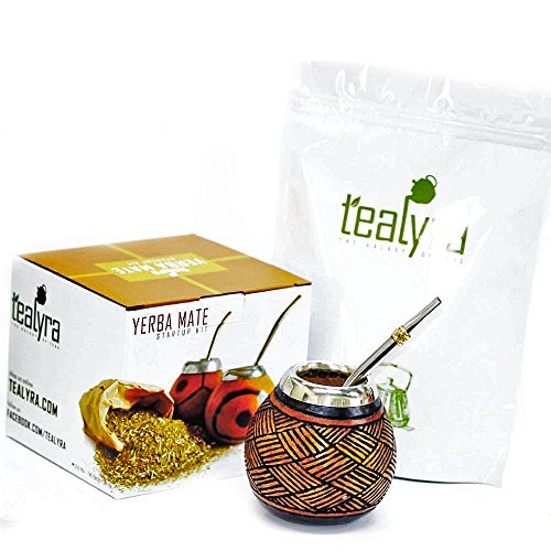 Tealyra - Hand Made Carved Yerba Mate Gourd and Stainless Steel Bombilla Straw - Green Yerba Mate tea Bag - Made in Argentina - Traditional Drinking Gourd - Authentic Argentinian Mate Cup (Alpaca Rim) (Tea Yerba Mate Gourd)