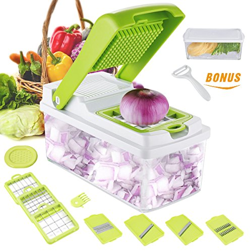 Godmorn Vegetable Slicer, Mandoline Slicer Dicer, 7 blades Peeler Hand-Guard Cleaning Tool Bonus,Multi-function Food Proceer, Fruit and Cheese Cutter,Chopper,Grater (Chopper Slicer Vegetable)