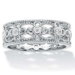 .925 Sterling Silver Round Bezel-Set White Cubic Zirconia Filigree Ring Size 6
