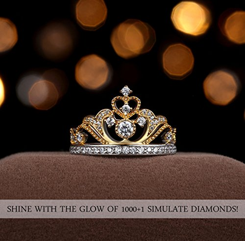 Chic Code Yellow & White Gold Plated 925 Sterling Silver Princess Crown Ring - Top Tiara Ring Gift by Chic Code (Image #4)