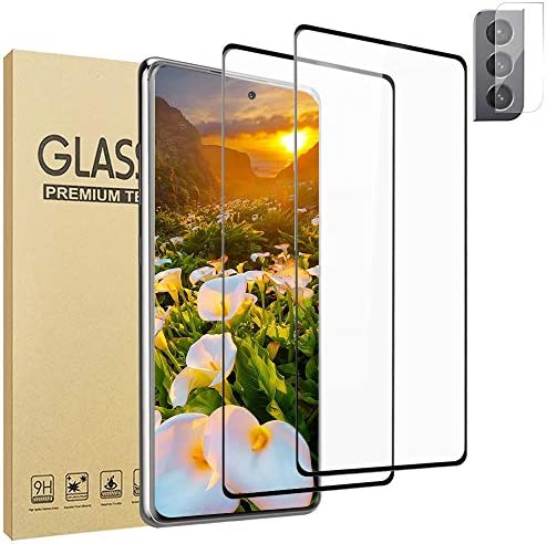 [2+1 Pack] Galaxy S21 Plus Screen Protector + Camera Lens Film [Full Covered] [9H Hardness] [Easy to Install] HD Tempered Glass Protector, for Samsung Galaxy S21 Plus/S21+ (6.7″)