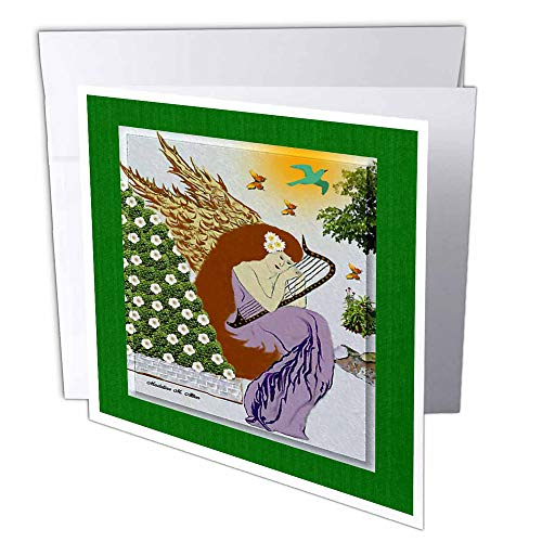 3dRose Angel Playing Harp In A Garden - Christmas Art 9 - Greeting Cards, 6 x 6 inches, set of 12 (gc_6681_2)
