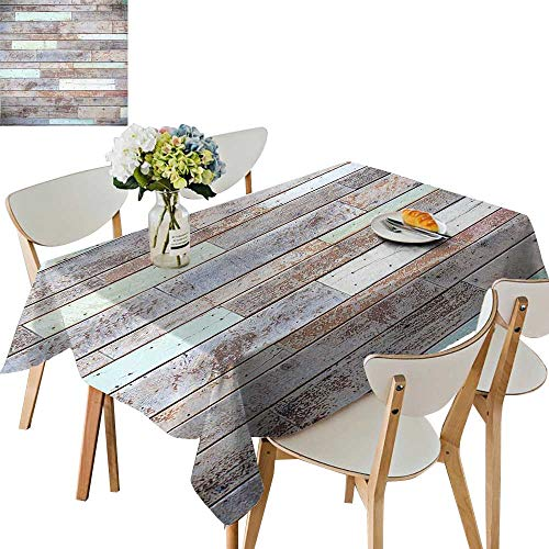 - UHOO2018 Square/Rectangle Polyesters Tablecloth Old Fashion Lumber Wall Boarding Building Panel Structure Brown Light Green Wedding Party,54 x102inch