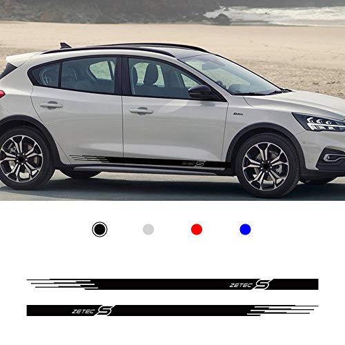 carado Racing Body Side Stripe Skirt Roof Hood Decal Sticker for Ford Focus Zetec S Vinyl Sport Badge Car Styling Accessories Black 1 Pair
