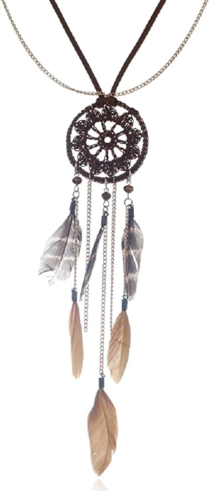 DreamCatcher Necklace Black Wirewrapped Necklace Jewelry Ethnic Necklace Tribal Necklace Gift for her Boho Necklace Native American