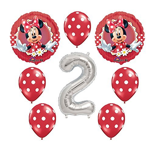 Disney Minnie Mouse Second Birthday Mylar and Latex Balloons Bouquet 8 pc by Anagram -