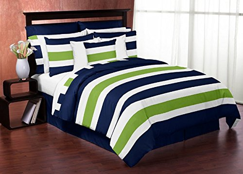 Navy Blue Lime Green and White Childrens, Kids, Teen 3 Piece Full / Queen Boys Stripe Bedding Set Collection