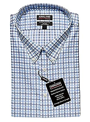 Kirkland Signature Traditional Fit Non-Iron Button Down Collar Oxford Shirt (L 16-34/35, Navy Blue White Mini Plaid)