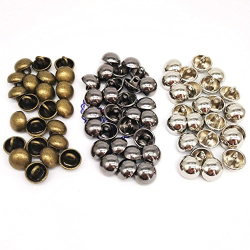 (HONEYSEW 100pcs/pack 10mm Metal Alloy Coat Sewing Buttons Dome Mashroom Shank Buttons Silver/Black/Bronze for Choose)