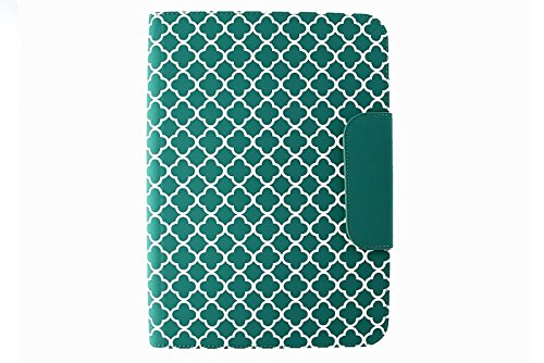Puregear Horizontal Soft Case - Puregear 10 inch Tablet Case universal folio and business card holder in teal green quatrefoil pattern