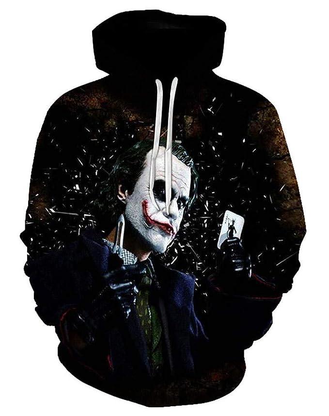 94623763a32d Amazon.com  Funny Fashion Men Joker Hoodie Sweatshirt 3D Printed Harajuku  Streetwear Hoody Casual Pullover  Clothing