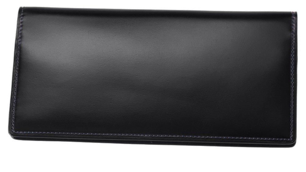 【キプリス】長財布(マチなし束入)■オイルシェルコードバン&シラサギレザー 4120 B075YMWF6K ブラック/ネイビー ブラック/ネイビー