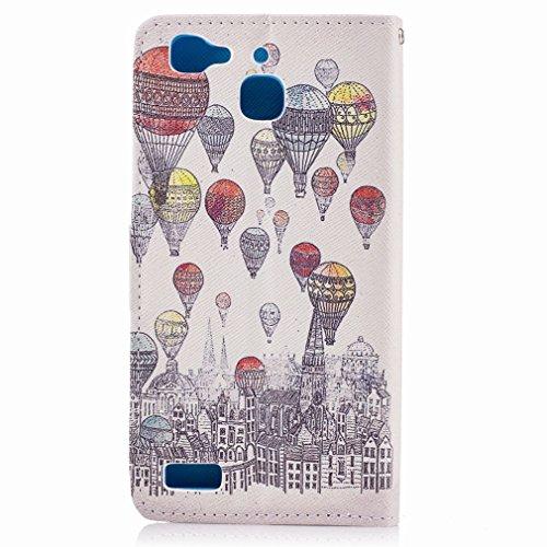 Yiizy Huawei Enjoy 5s / Huawei GR3 Custodia Cover, A Palloncino Città Design Sottile Flip Portafoglio PU Pelle Cuoio Copertura Shell Case Slot Schede Cavalletto Stile Libro Bumper Protettivo Borsa