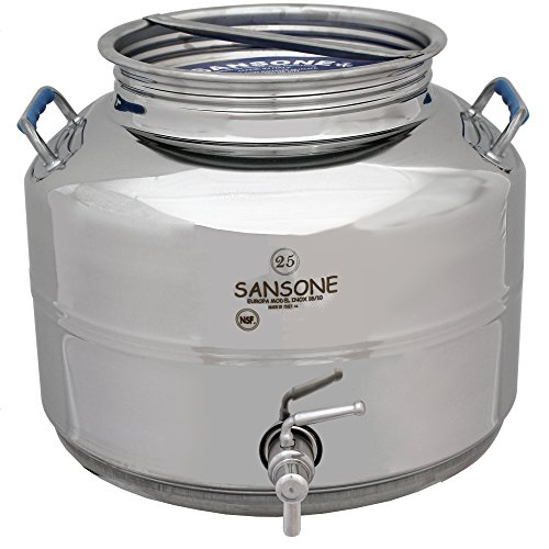 Sansone SA0025-1L Stainless Steel NSF Certified Fusti Water Cooler with Lever Spigot, 25 Liters, Silver