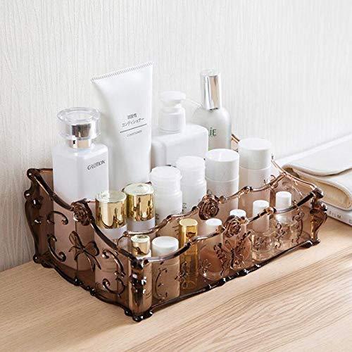 Maxlight Vintage Acrylic Makeup Organizer 3 Layer Cosmetics Storage Box Rack Make Up Clear Storage Boxes Bathroom Desktop Organizer Case (Coffee) ()