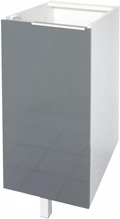 Colore: Nero Brillante Berlenus CP3BN 30 cm Mobiletto Basso da Cucina 1 Anta